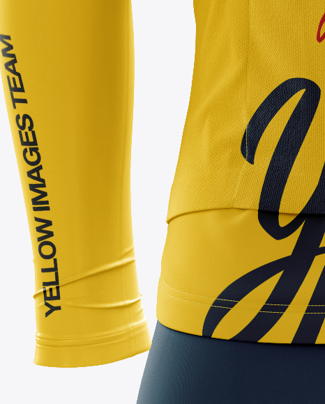 Download Mens Full Cycling Kit With Cooling Sleeves Mockup Back View Yellow Images