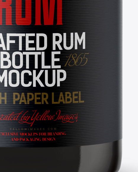 Amber Glass Rum Bottle Mockup