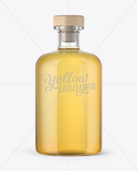 Clear Glass Tequila Gold Bottle Mockup