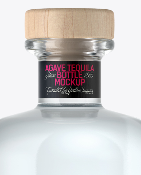 Clear Glass Silver Tequila Bottle Mockup