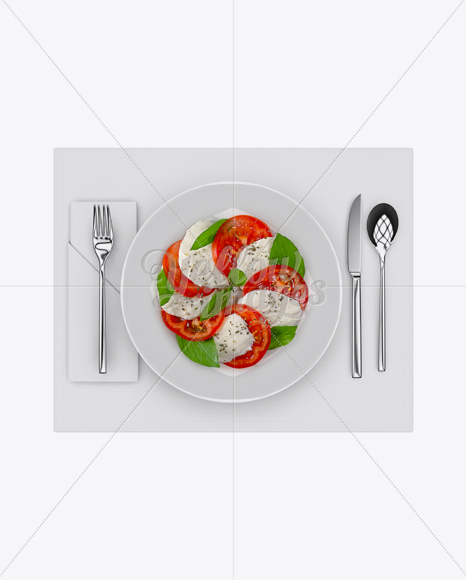 Plate with Caprese Salad and Cutlery Mockup - Top View