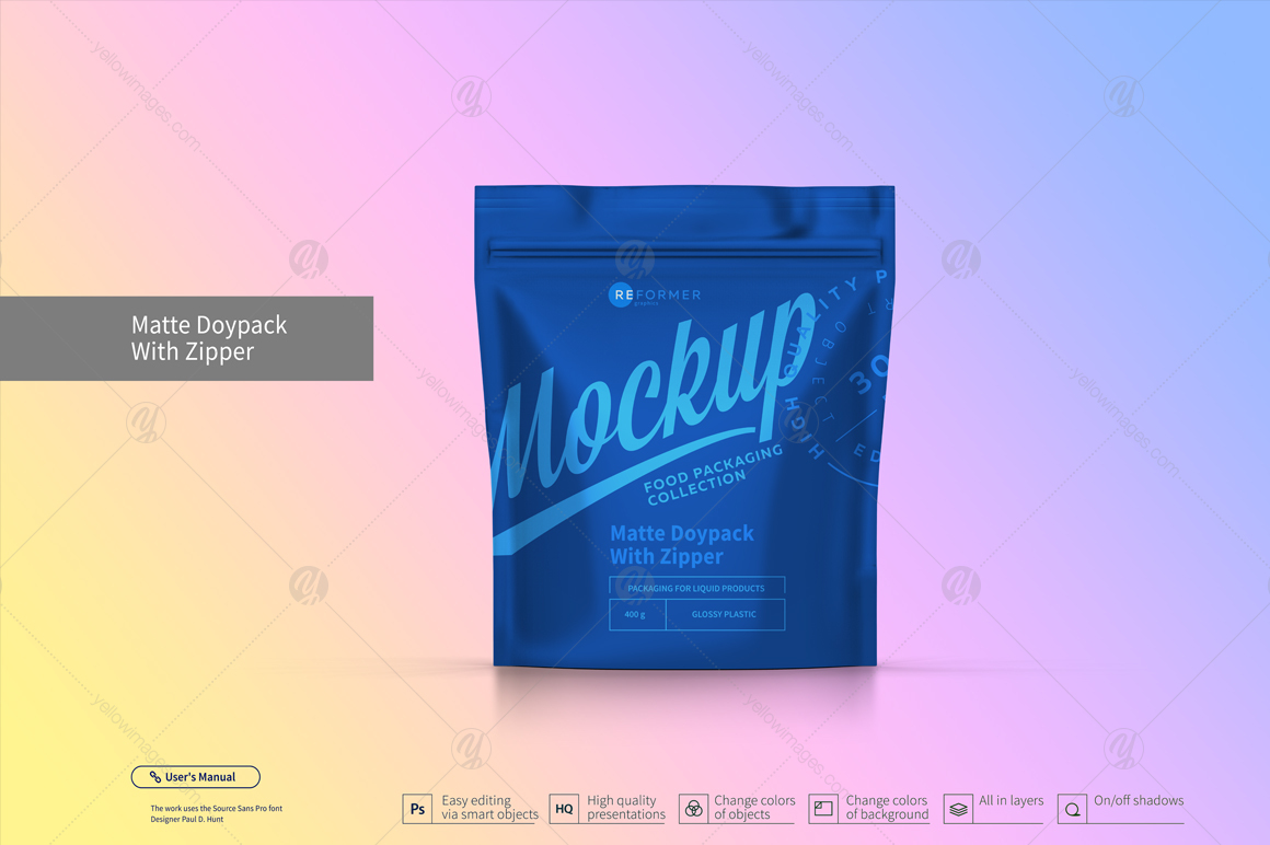 Six Doy-Pack With Zipper Mockup