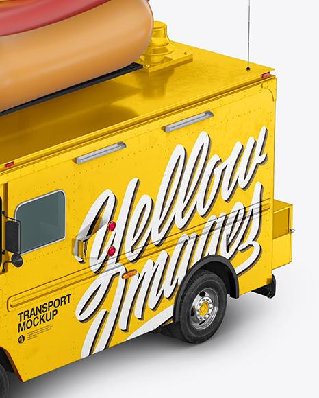 Hot Dog Truck Mockup - Half Side View (High-Angle Shot)