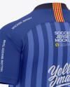 Men's Soccer V-Neck Jersey Mockup - Back Half-Side View - Football Jersey Soccer T-shirt