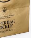 Square Metallic Paper Bag Mockup