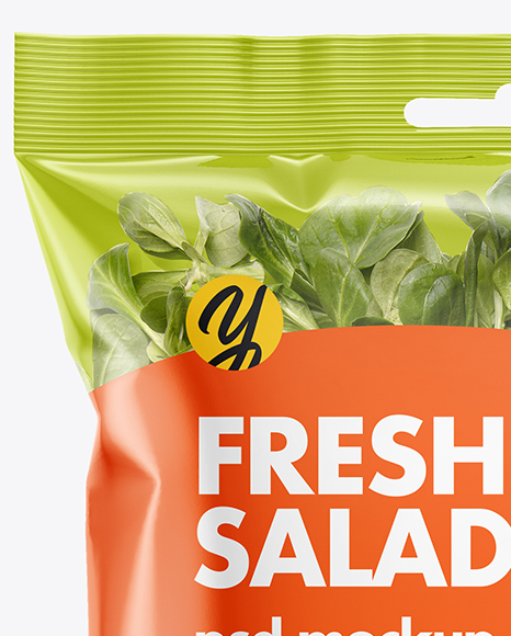 Plastic Bag With Corn Salad Mockup