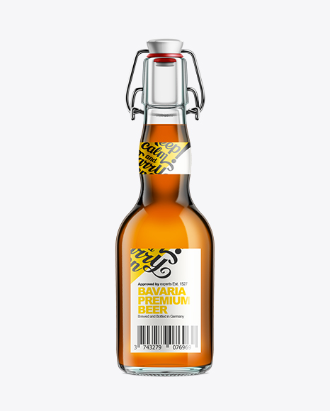 Glass Bottle with Amber Ale and Swing Top Closure 330ml