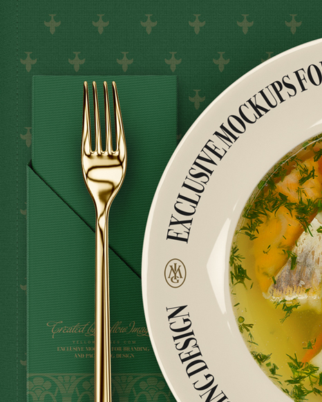 Plate with Fish Soup and Cutlery Mockup - Top View