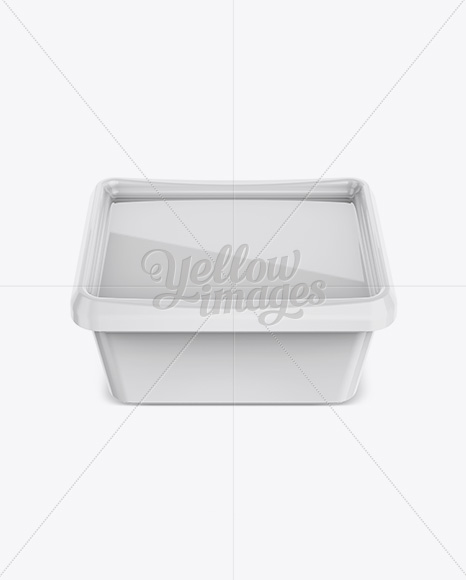 Glossy Butter Tub Mockup -  Front View (High-Angle Shot)