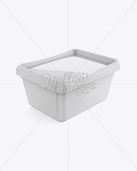 Glossy Butter Tub Mockup - Halfside View (High-Angle Shot)