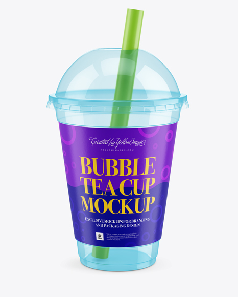 Empty Bubble Tea Cup Mockup - High-Angle View