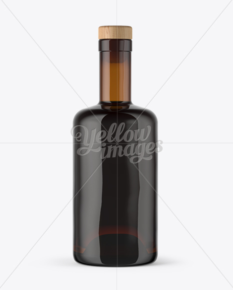 Amber Glass Bottle with Rum Mockup