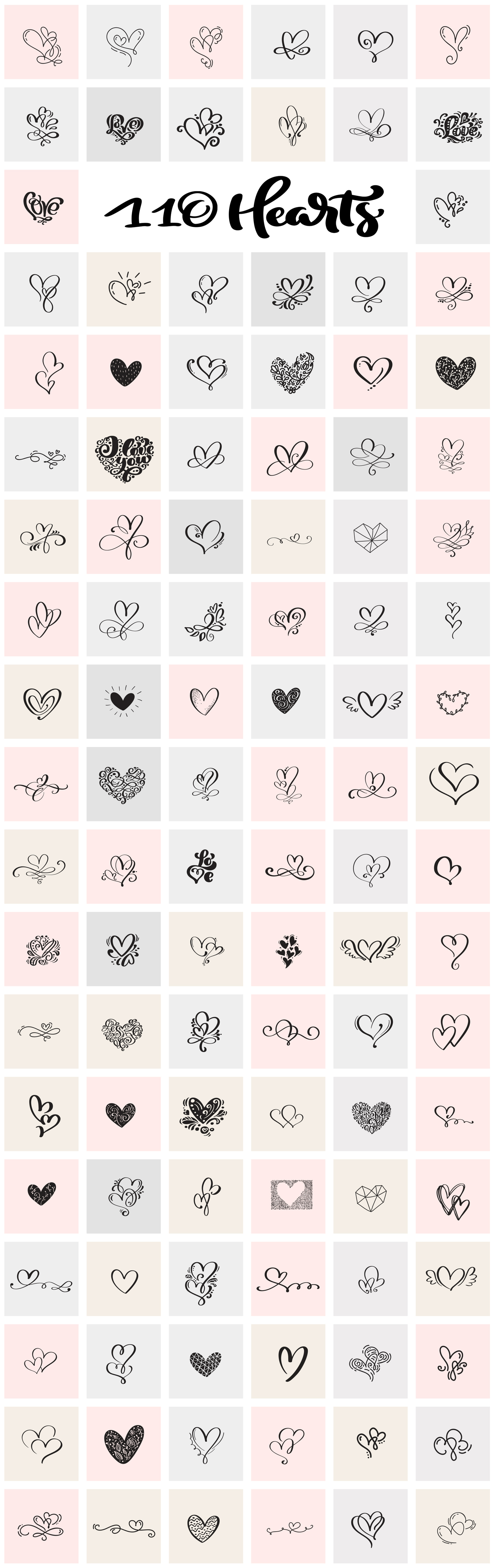 Valentine vector hand draw hearts