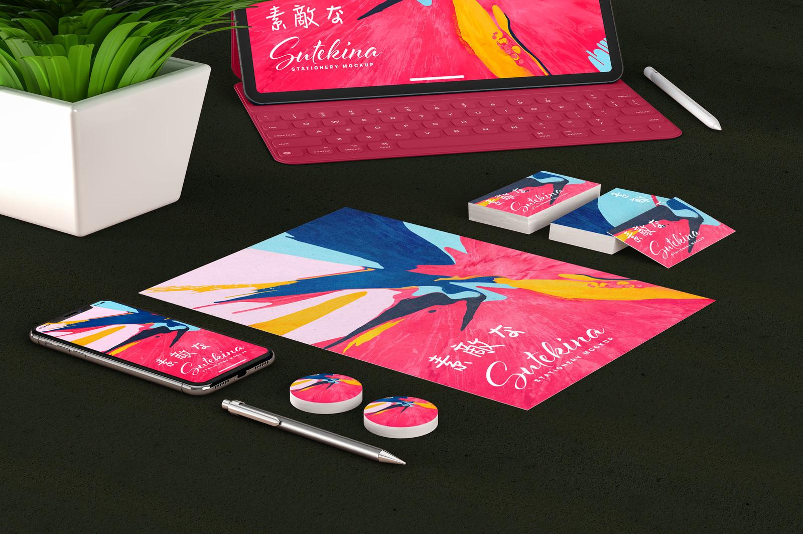 Sutekina Stationery Design Mockup