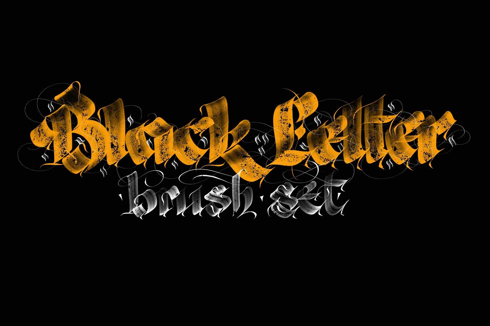 Blackletter Pro Brushes for Procreate in Brushes on Yellow