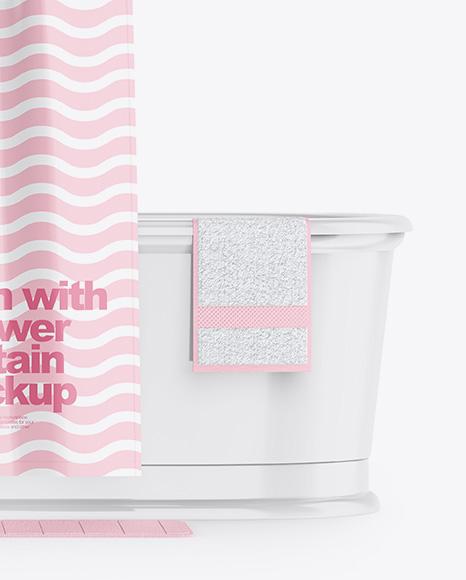 Bath w/ Glossy Shower Curtain Mockup