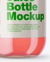 Clear Glass Bottle With Strawberry Juice Mockup