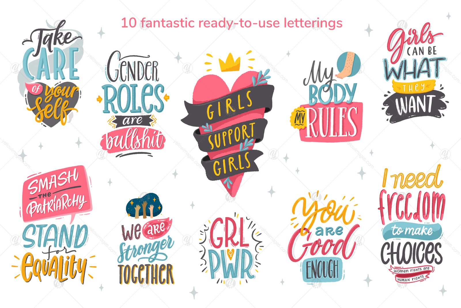 Feminism, vector letterings+graphics