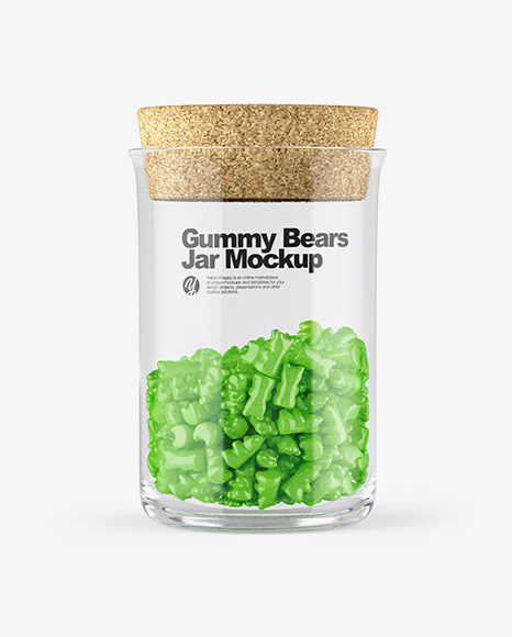 Gummy Bears Glass Jar With Cork Mockup