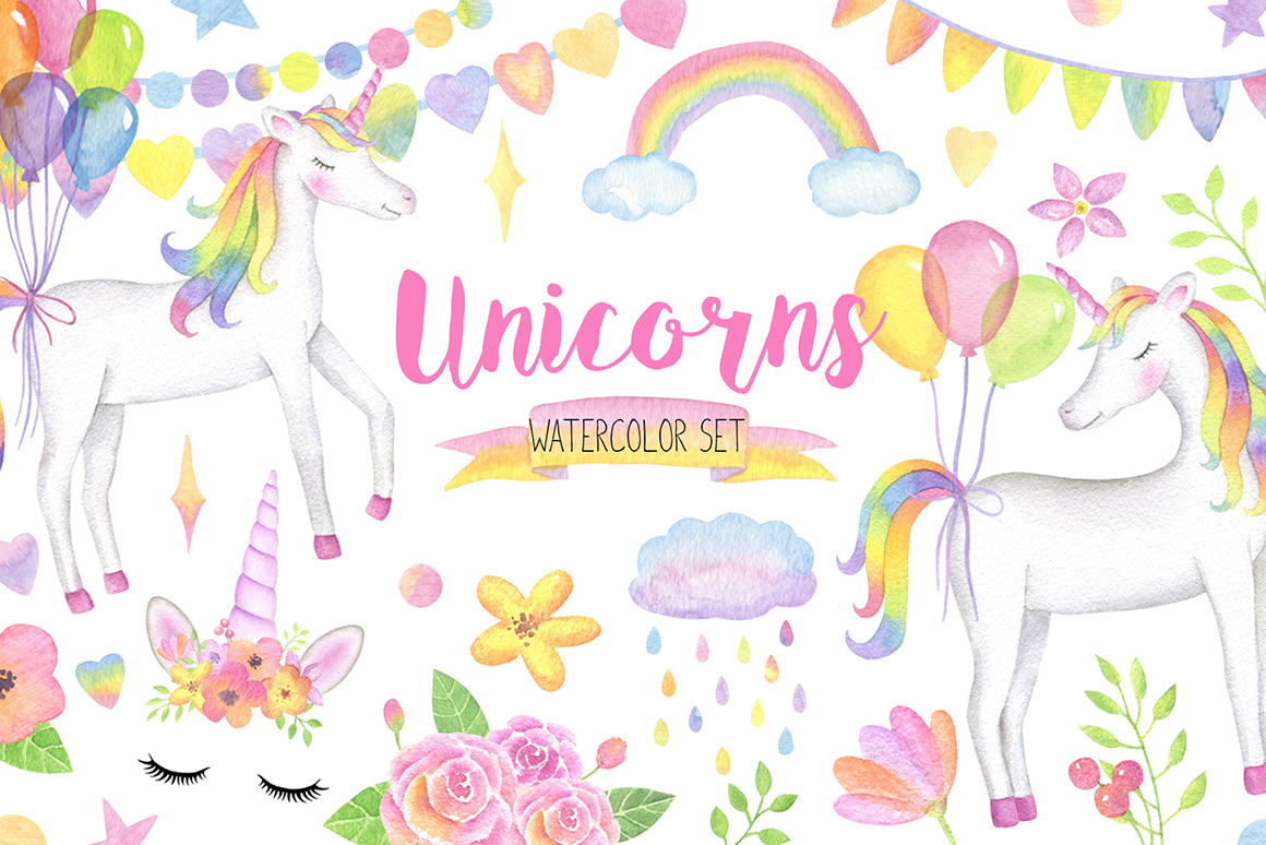 Unicorn magical. Watercolor set face clipart