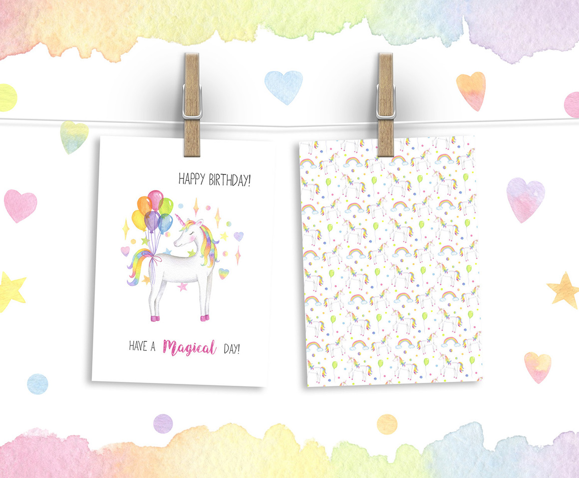 Magical Unicorn Watercolor Set, Unicorn Face Clipart, Rainbow Clipart