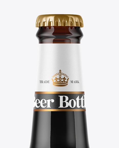 330ml Amber Glass Stout Beer Bottle Mockup