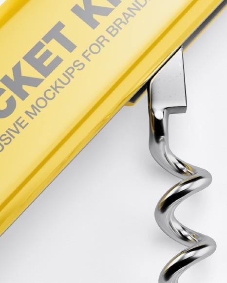 Opened Pocket Knife Mockup Top View
