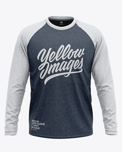 Men S Heather Raglan Long Sleeve T Shirt Mockup Front View In