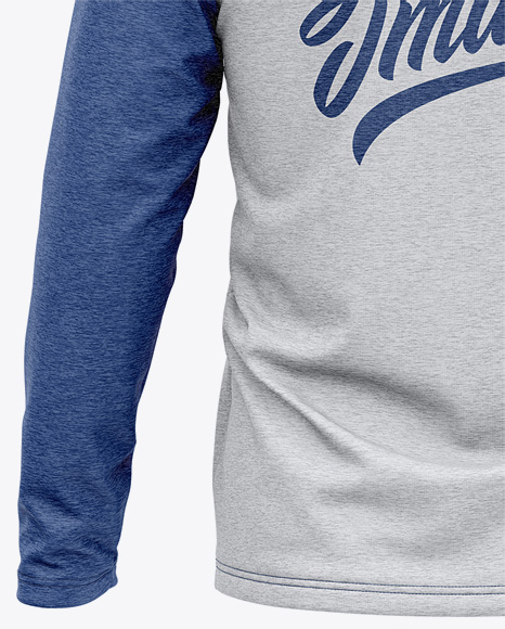 Men's Heather Raglan Long Sleeve T-Shirt Mockup - Back View