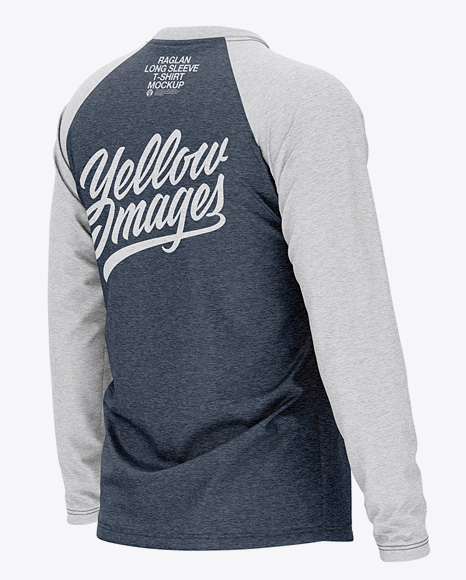 Download Mens Heather Raglan Long Sleeve T Shirt Mockup Front Half Side View Yellow Images