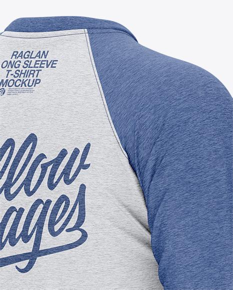 Men's Heather Raglan Long Sleeve T-Shirt Mockup - Back Half Side View