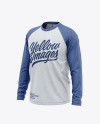 Men's Heather Raglan Long Sleeve T-Shirt Mockup - Front Half Side View