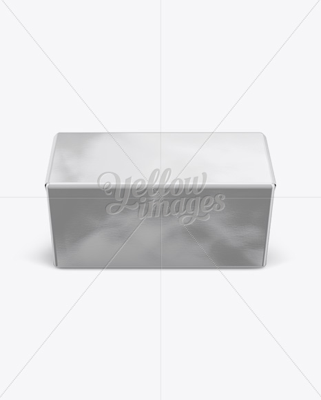 250g Butter Block In Metallic Foil Wrap Mockup - Front View (High-Angle Shot)