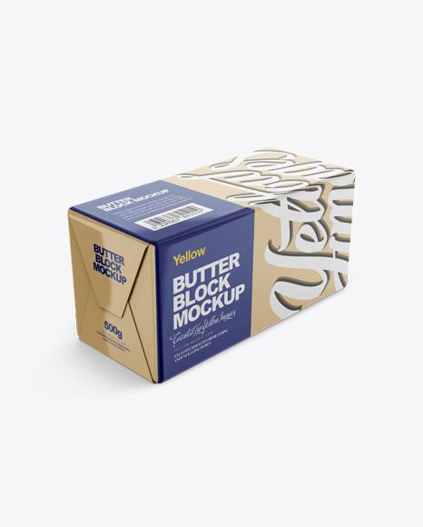 250g Glossy Butter Block Mockup - Halfside View (High-Angle Shot)