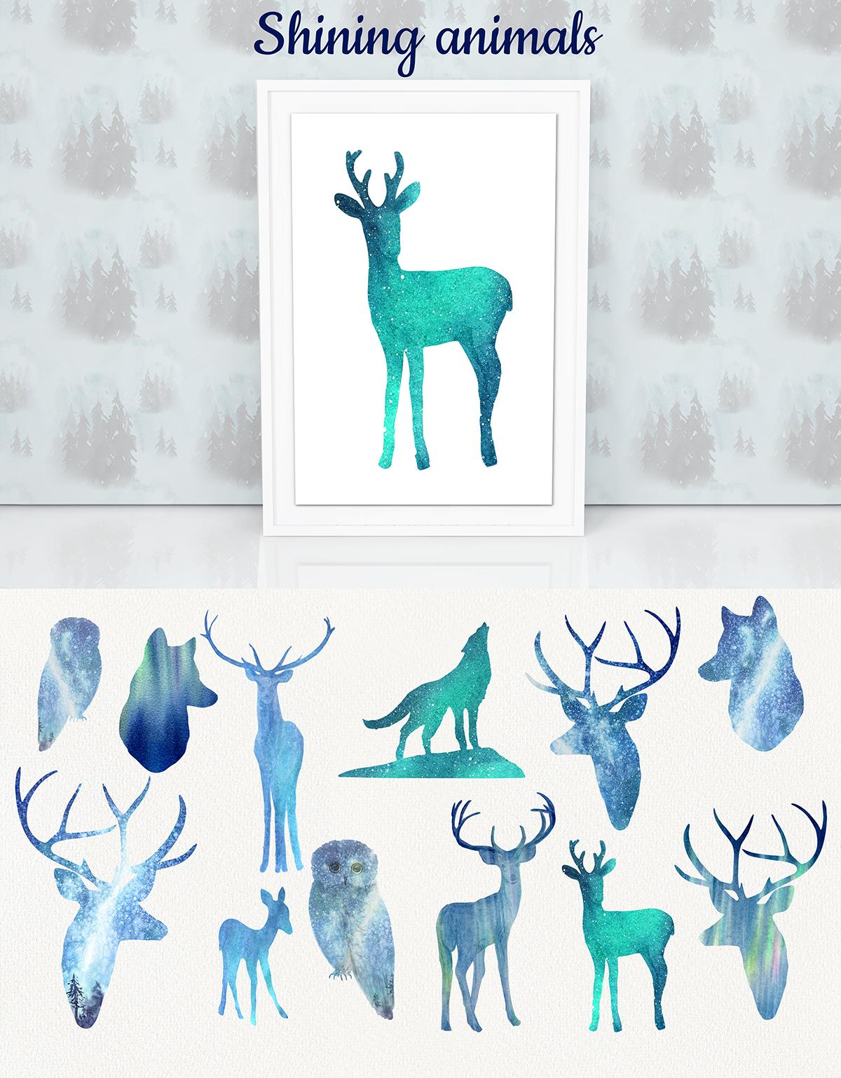 Aurora borealis. Watercolor set