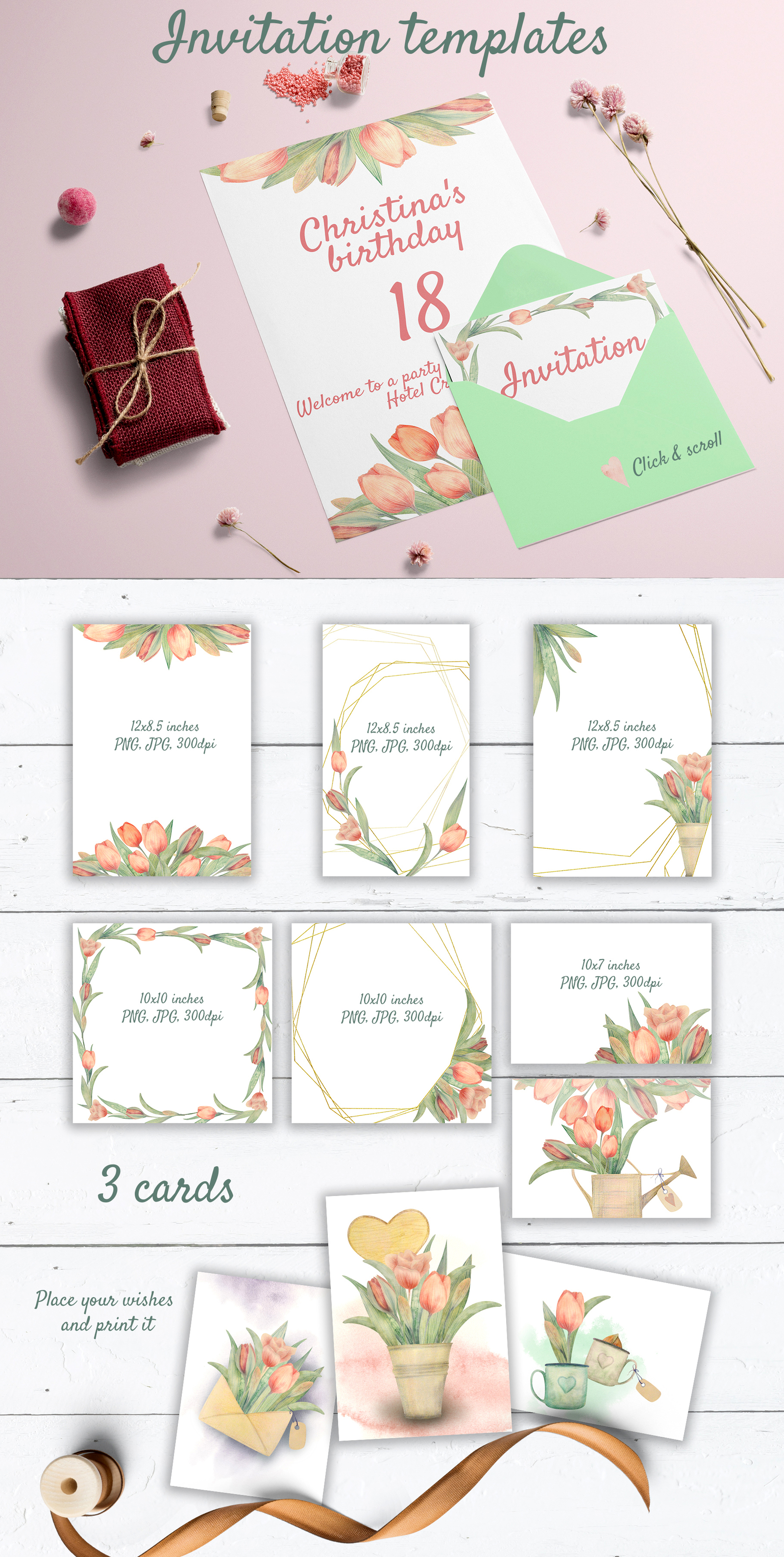 HELLO SPRING. Watercolor tulip set