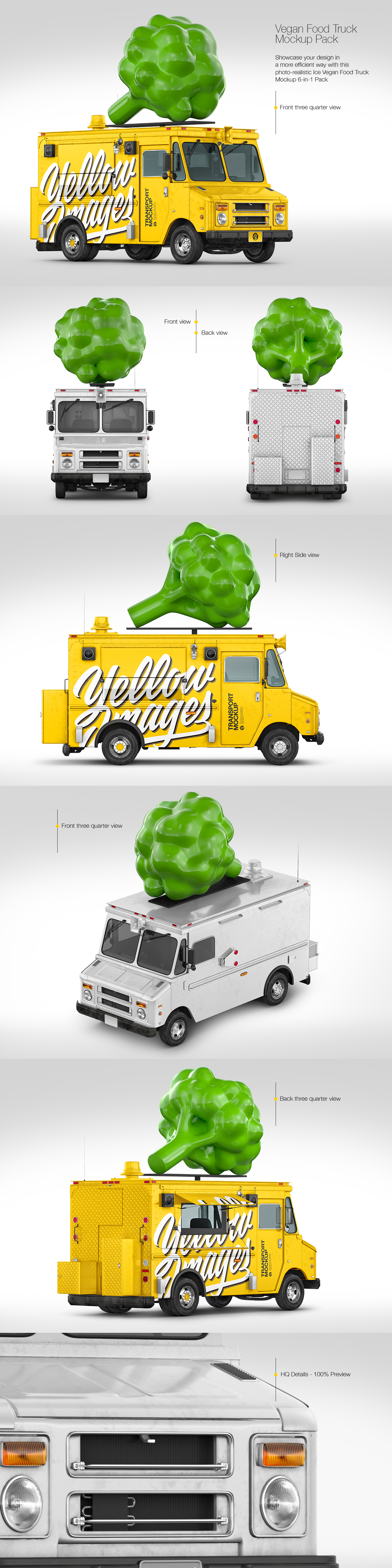 Vegan Food Truck Mockup Pack