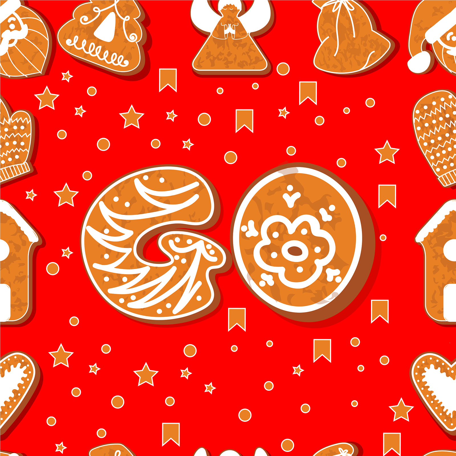 Vector set of gingerbread alphabets. Christmas symbols