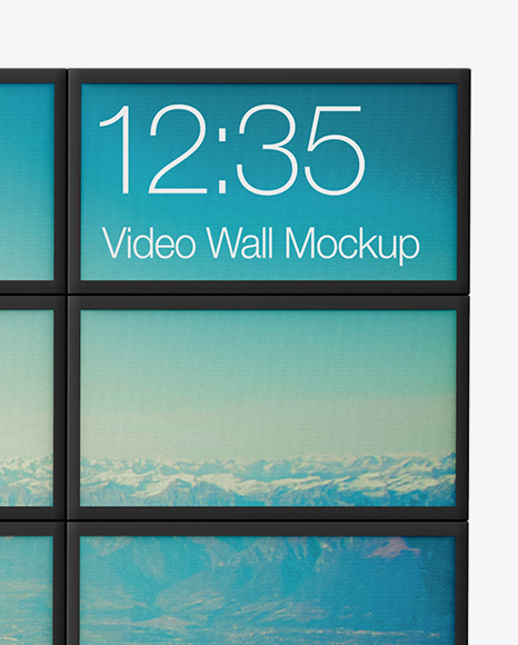 Screen Video Wall Mockup - Front View