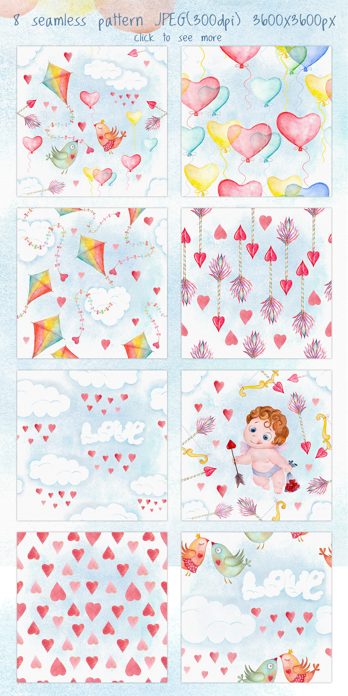 Valentines day love watercolor set