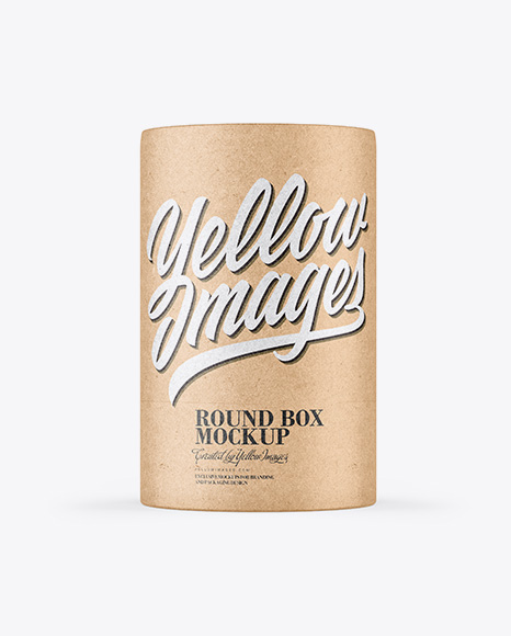 Kraft Round Box With String Mockup