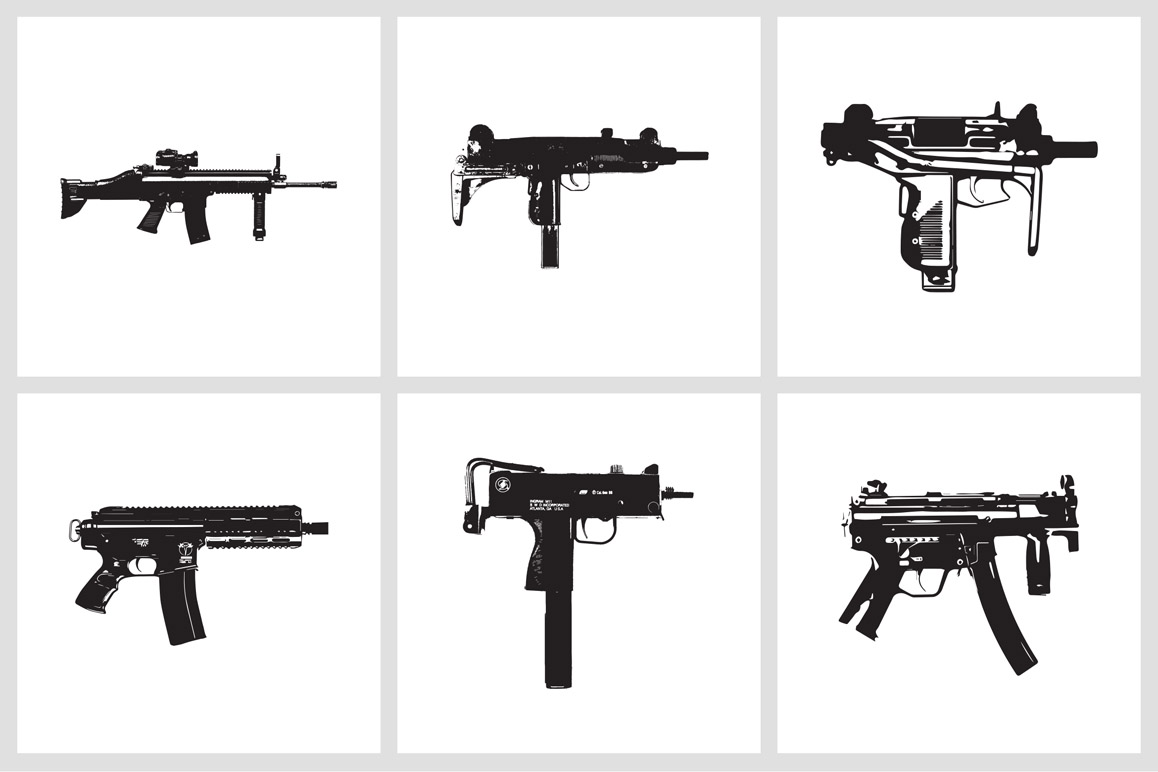 Automatic Weapons: EPS Vector Illustrations
