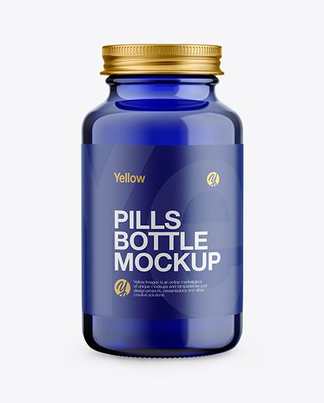 Blue Glass Pills Bottle Mockup - Front View