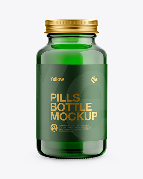 Green Glass Pills Bottle Mockup - Front View