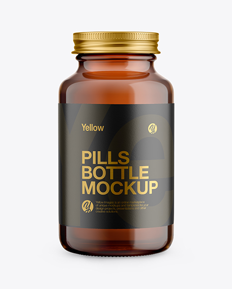 Amber Glass Pills Bottle Mockup - Front View