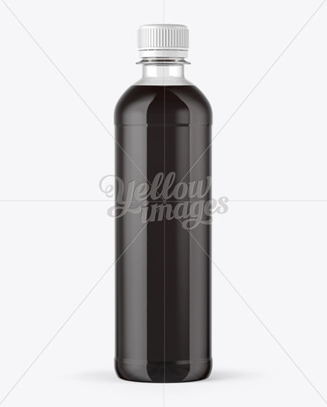 PET Black Water Bottle with Paper Label Mockup