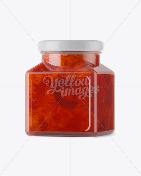 Glass Strawberry Jam Jar Mockup - Halfside View