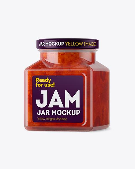 Glass Strawberry Jam Jar Mockup - Halfside View