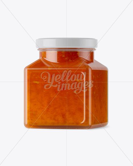 Download Glass Orange Jam Jar Mockup Halfside View In Jar Mockups On Yellow Images Object Mockups PSD Mockup Templates