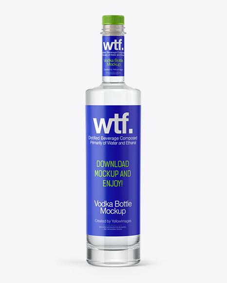 750ml Flint Glass Kendo Bottle with Vodka Mockup